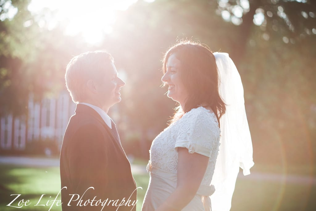 Sun Kissed Portrait of a Bride and Groom