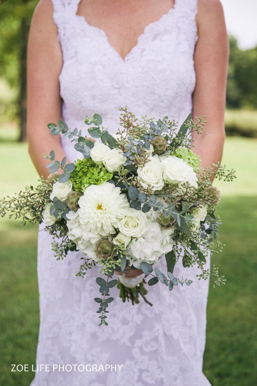 Wedding Dress and Bouquet Detail Shot