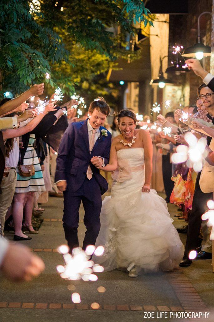 Sparkler Shot with Bride and Groom Nashville Wedding Photographer