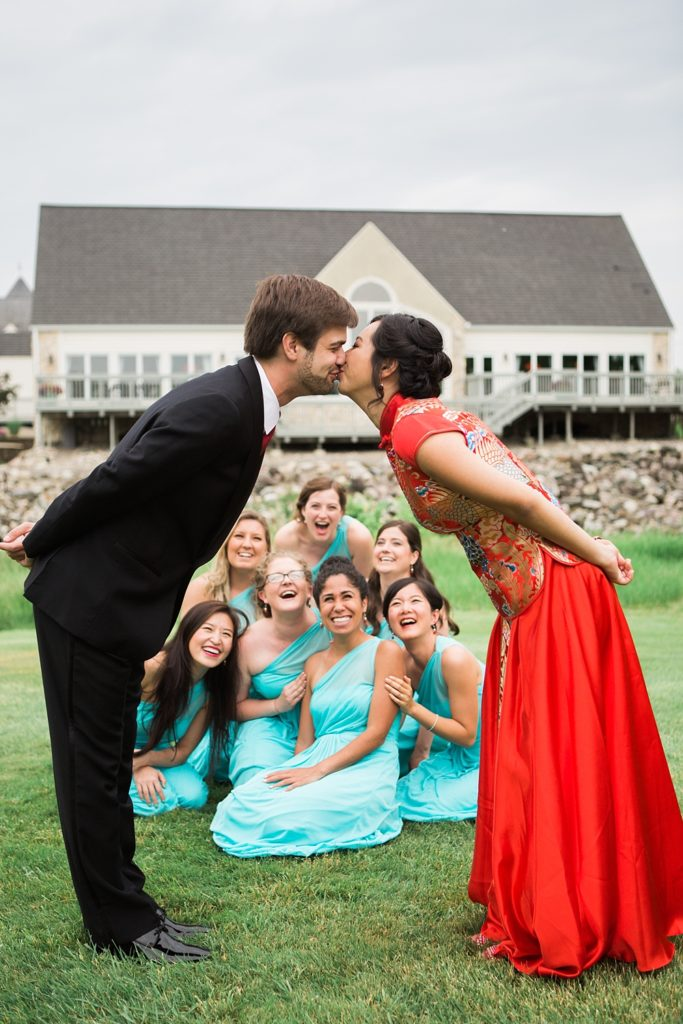 Creative Shot of the Bridal Party and Bride and Groom
