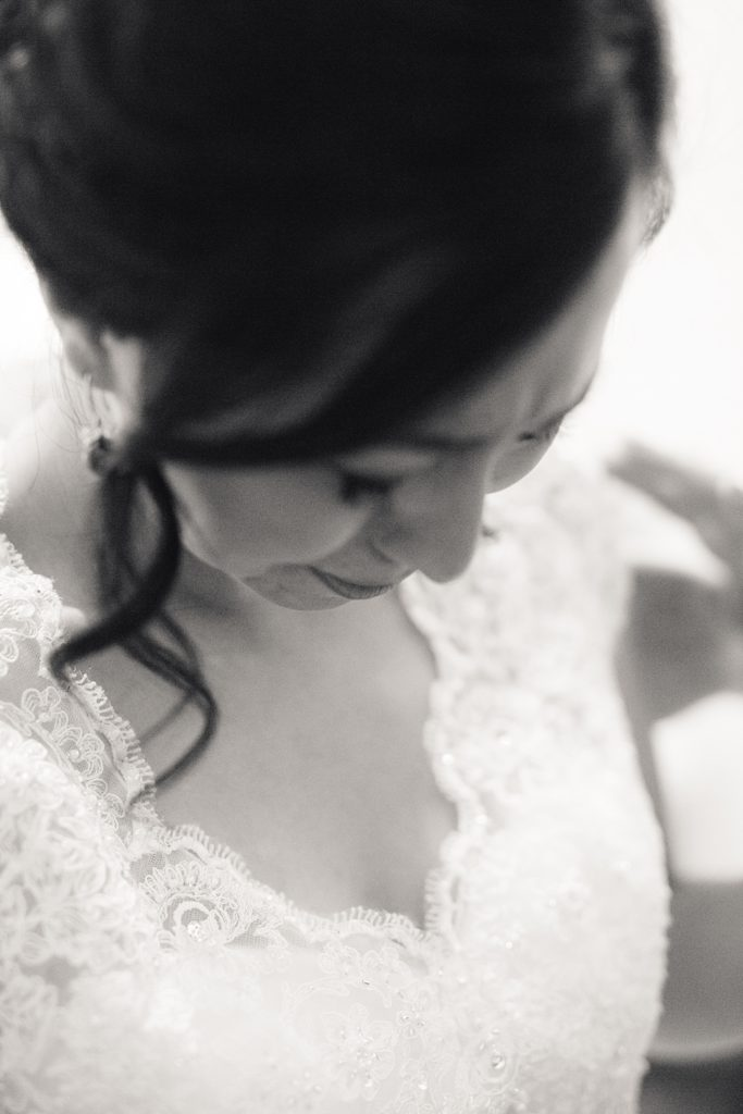 Bride Crying in Black and White