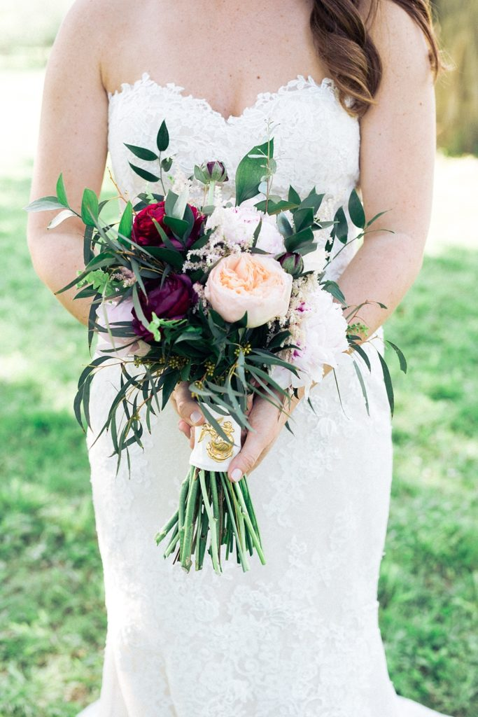 Close-Up of Bridal Bouquet and Bride