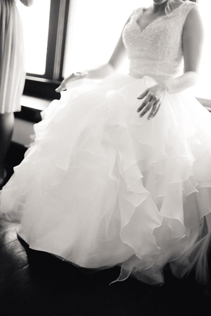 Ruffles wedding dress in black and white