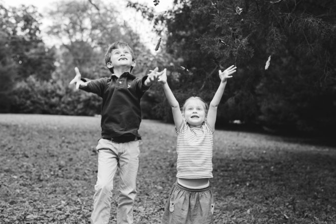 Kids Throwing Leaves Family Session