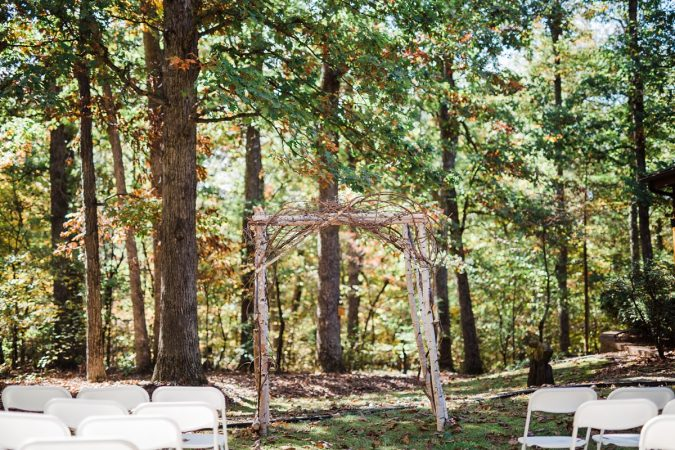 Rustic Backyard Wedding in the Woods, Ceremony Detail