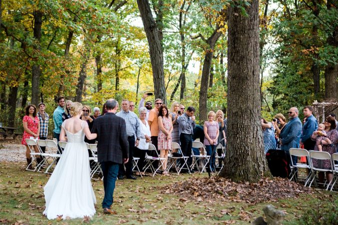 Rustic Backyard Wedding in the Woods, Father Walking Bride Down the Aisle