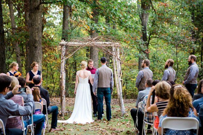 Rustic Backyard Wedding in the Woods, Bride and Groom