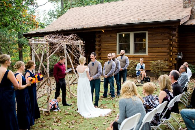Rustic Backyard Wedding in the Woods, Bride and Groom during Ceremony