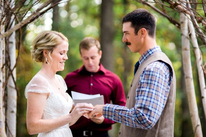 Rustic Backyard Wedding in the Woods, Exchange of the Rings