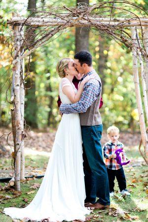 Rustic Backyard Wedding in the Woods, Wedding Kiss