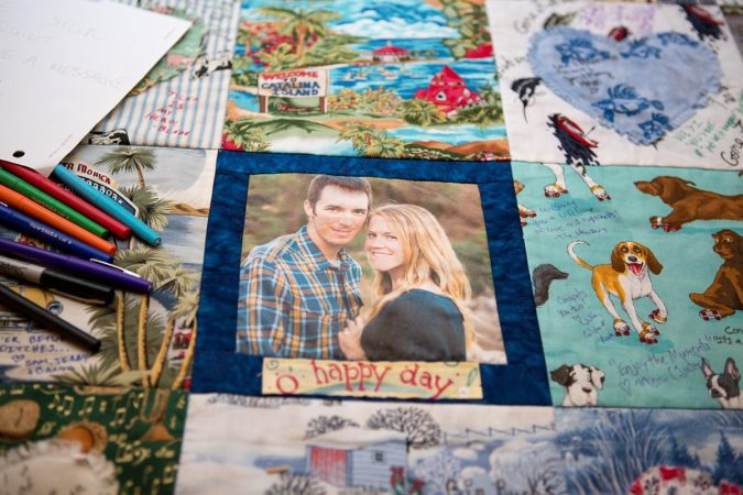 Rustic Backyard Wedding in the Woods, Quilt to Sign