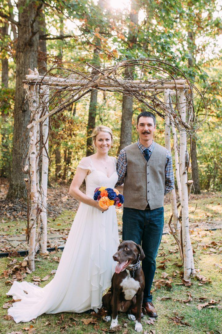 Rustic Backyard Wedding in the Woods, Bride and Groom, St. Louis Wedding Photographer