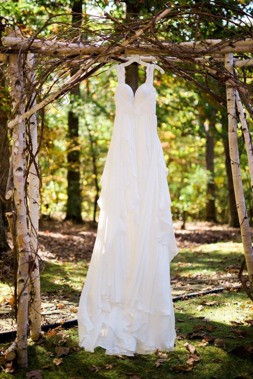 Wedding Dress Hanging Up in the Woods, Wedding Detail, St. Louis Wedding Photographer