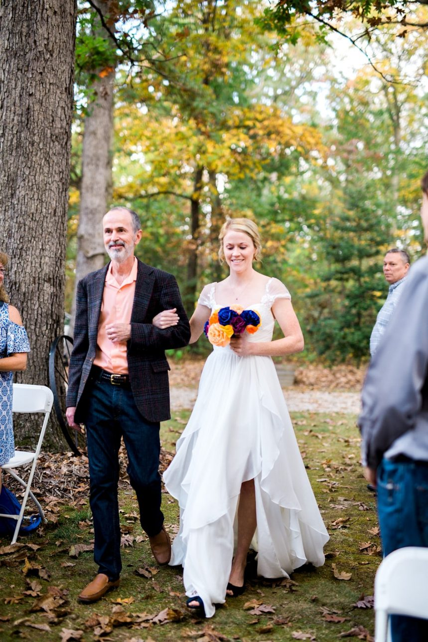 Father Walking Bride Down the Aisle, in the Woods Wedding, St. Louis Wedding Photographer