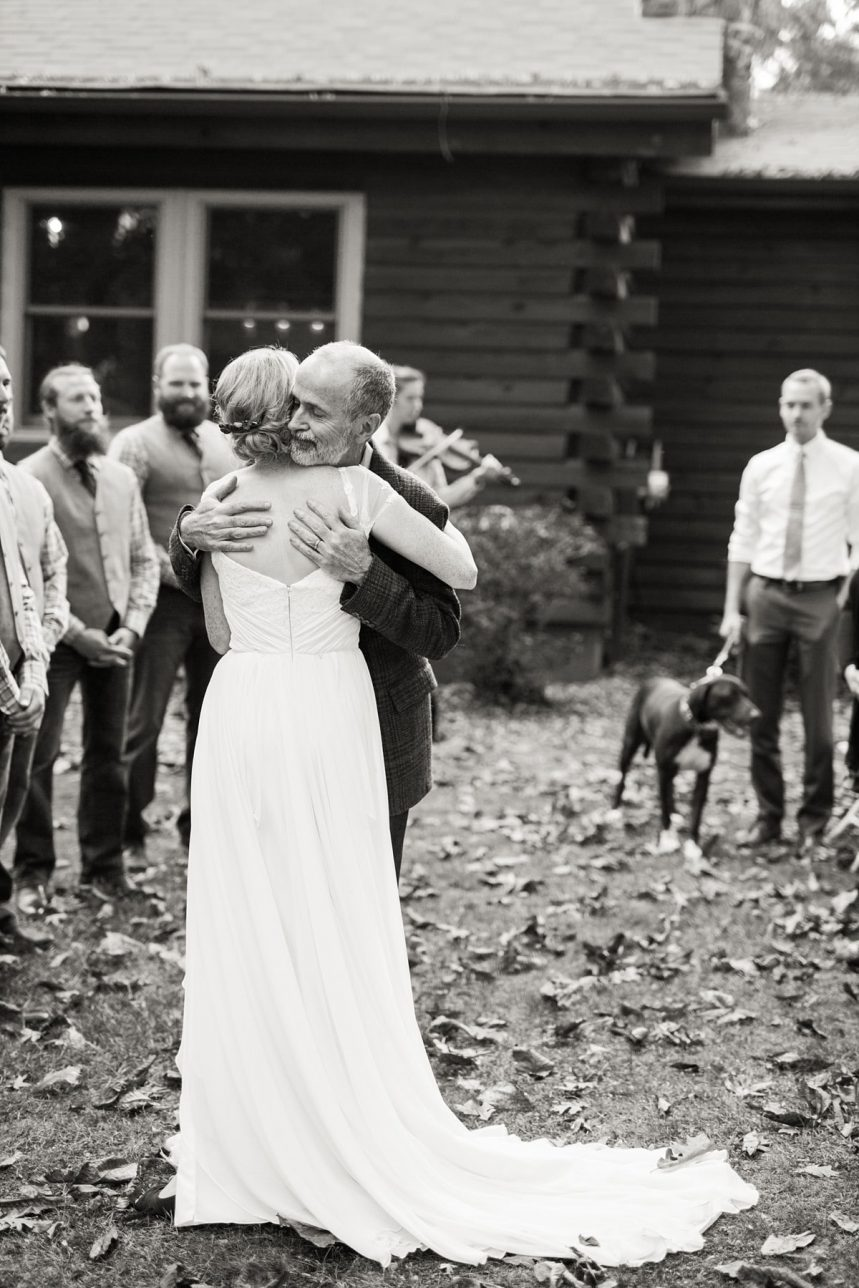 Father and Daughter Hug, Wedding Ceremony, St. Louis Wedding Photographer