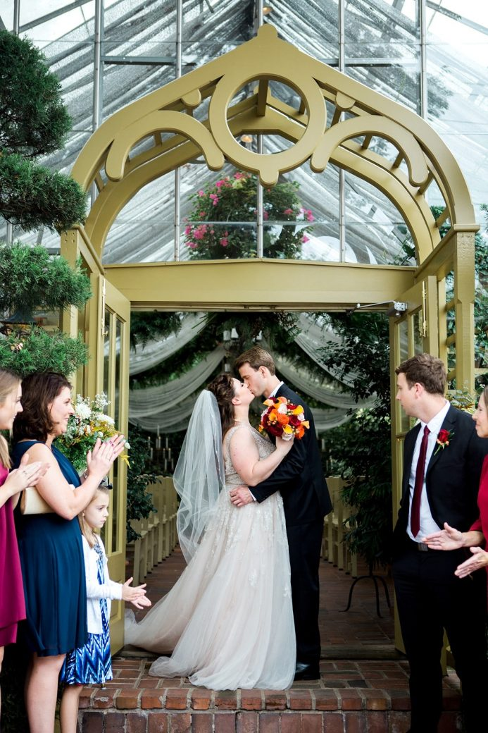 Bride and Groom Kiss after Wedding, St. Louis Wedding Photographer