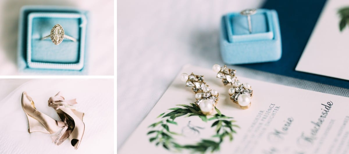 Detail Shots of Earrings and Engagement Ring