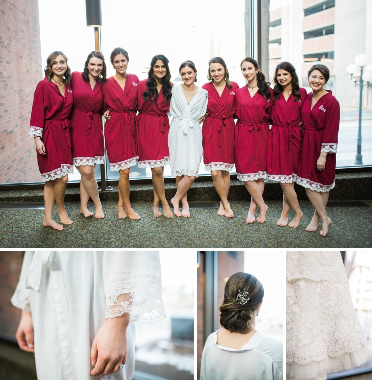 Bride and Bridesmaids in Robes, St. Louis Wedding Photographer