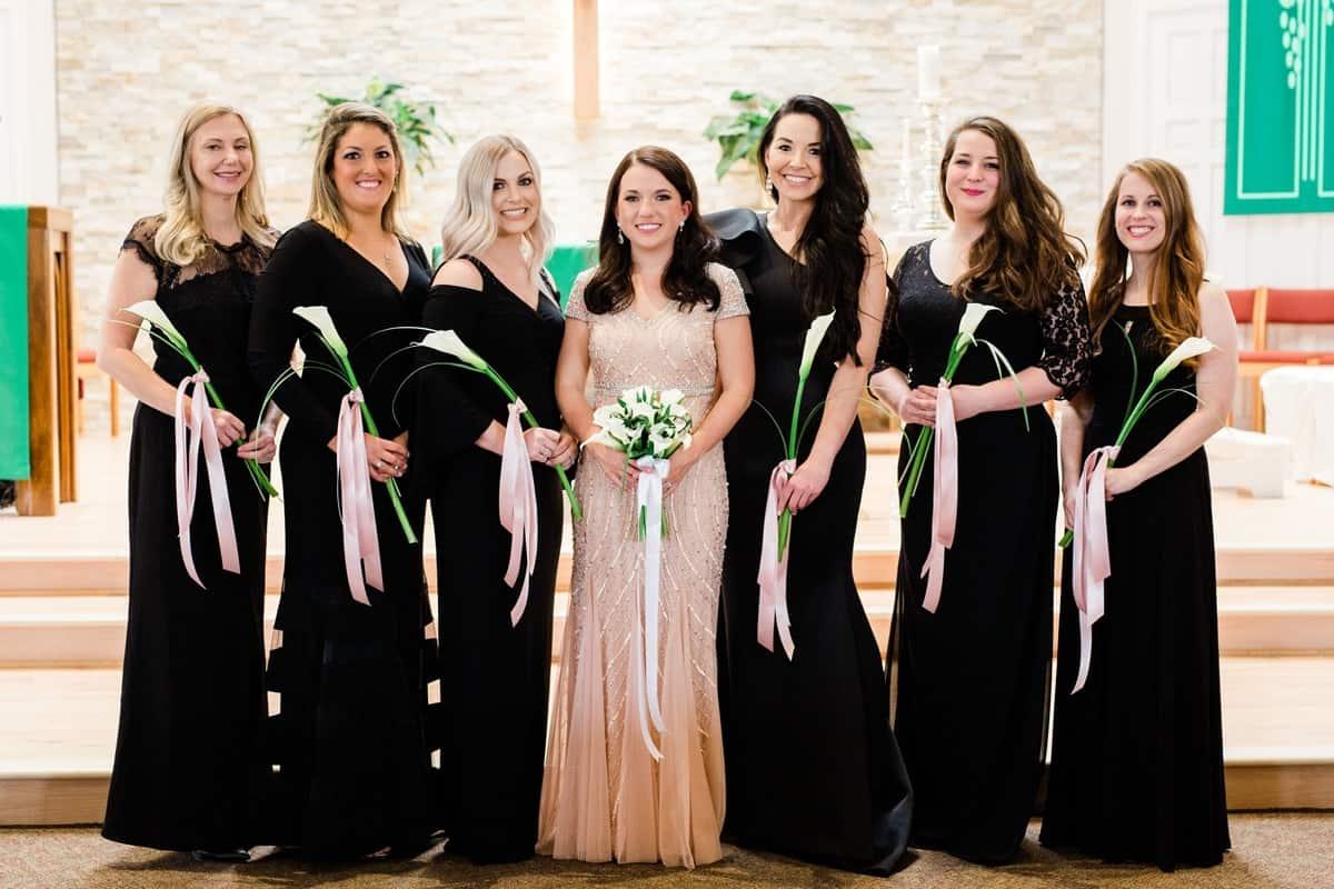 Nashville Wedding Photographers, St. Philip Catholic Church Franklin Wedding, Bridesmaid Photos Inside Church