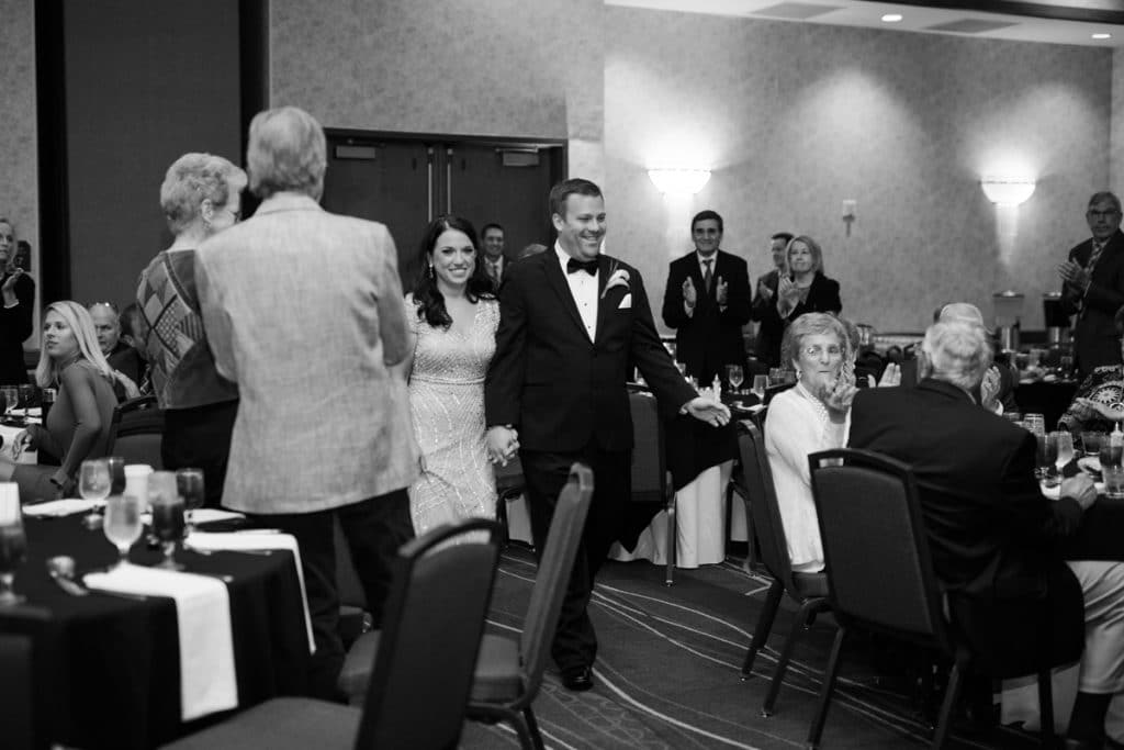 Nashville Wedding Photographers, Embassy Suites Cool Springs Wedding Reception, Bride and Groom Entrance into Reception, Black and White Reception Photos