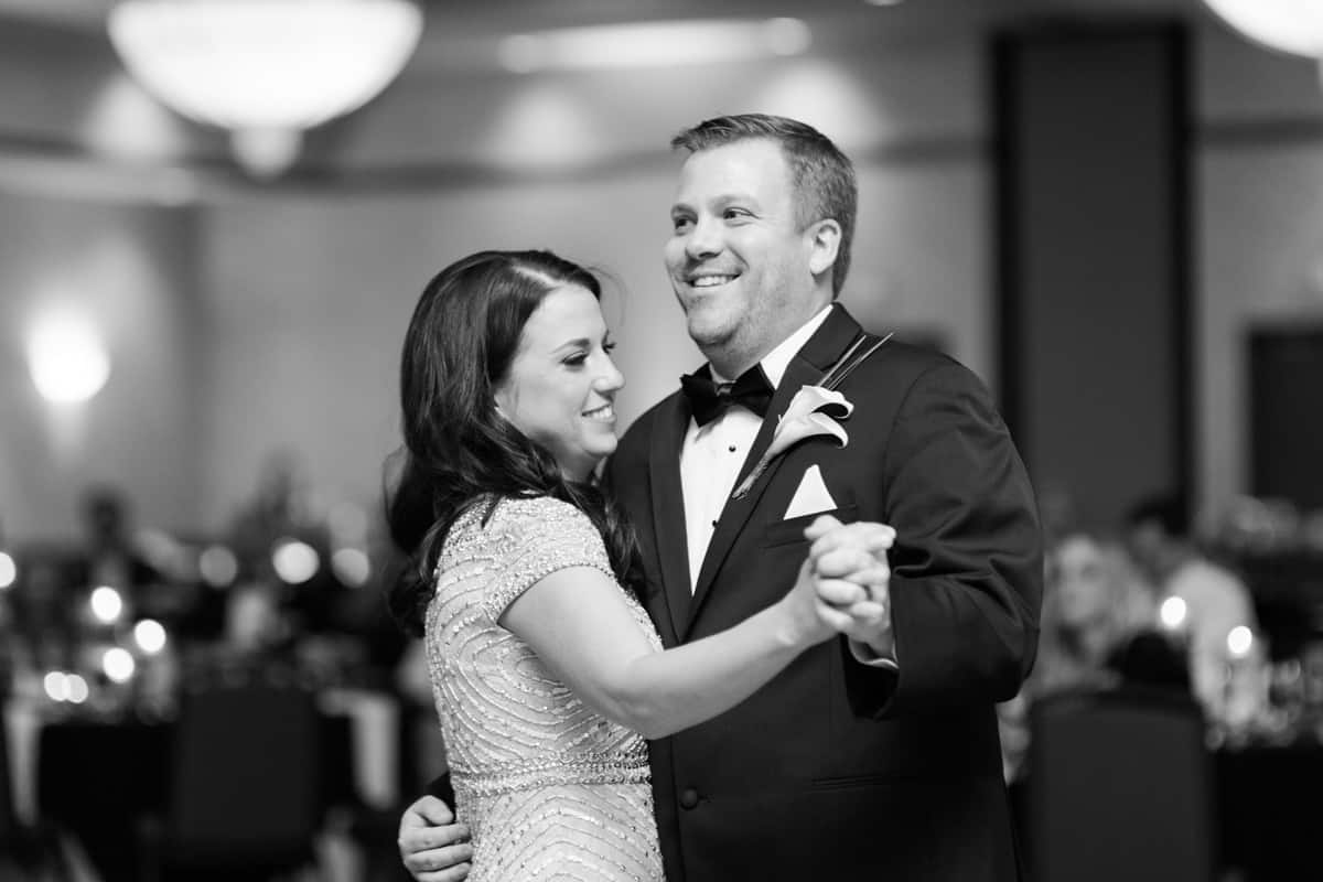 Nashville Wedding Photographers, Embassy Suites Cool Springs Wedding Reception, First Dance for Bride and Groom, Black and White Reception Photos