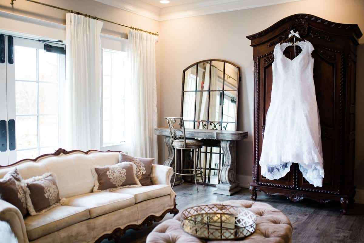 St. Louis Wedding Photographers, Silver Oaks Chateau Wedding, Wedding Dress Hung Up