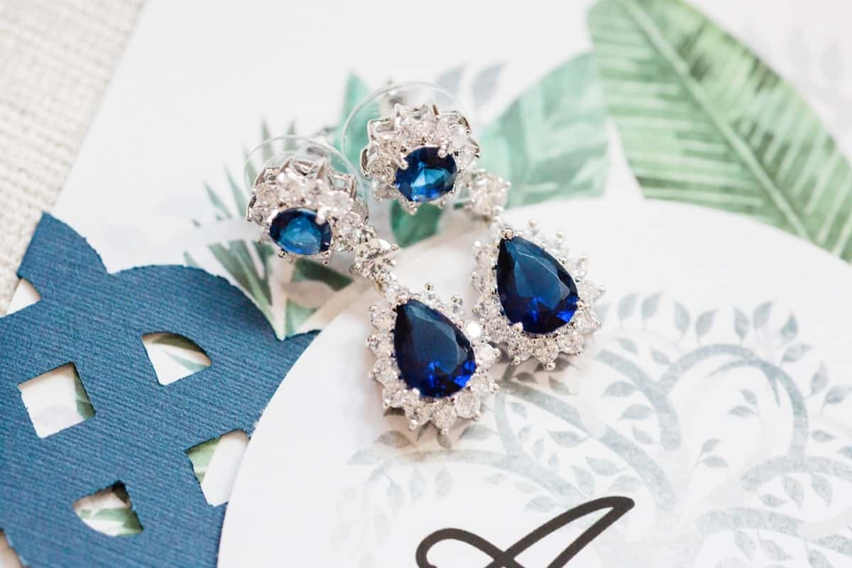St. Louis Wedding Photographers, Silver Oaks Chateau Wedding, Blue Sapphire and Diamond Earrings, Wedding Detail Shots