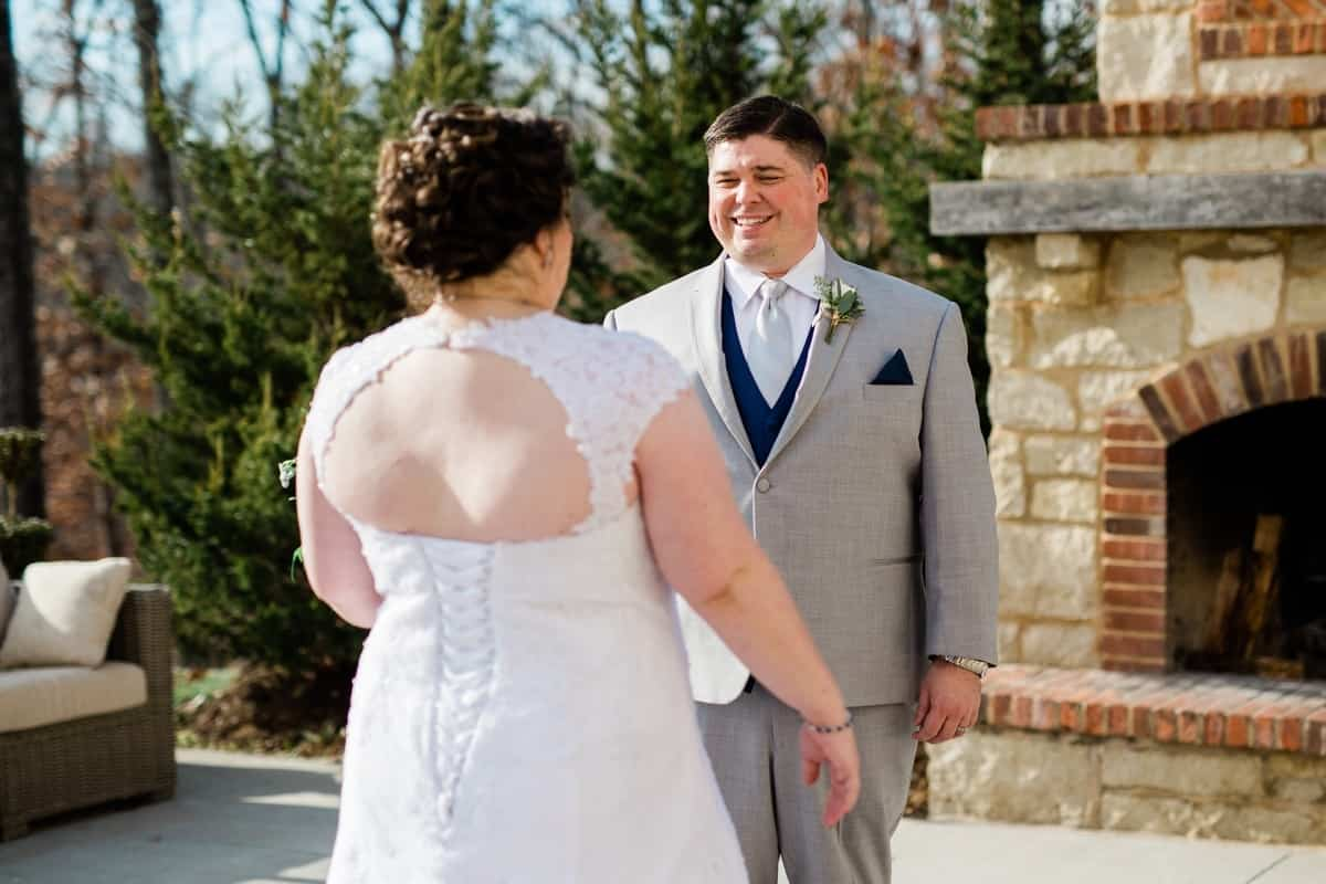 St. Louis Wedding Photographers, Silver Oaks Chateau Wedding, First Look Outside Fireplace