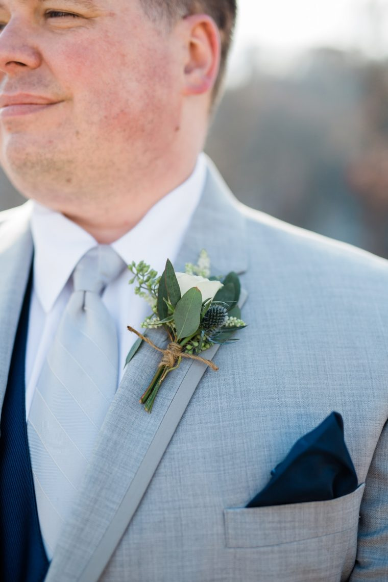 St. Louis Wedding Photographers, Silver Oaks Chateau Wedding, Groom Boutonniere Detail Shots with White Rose and Green Petals