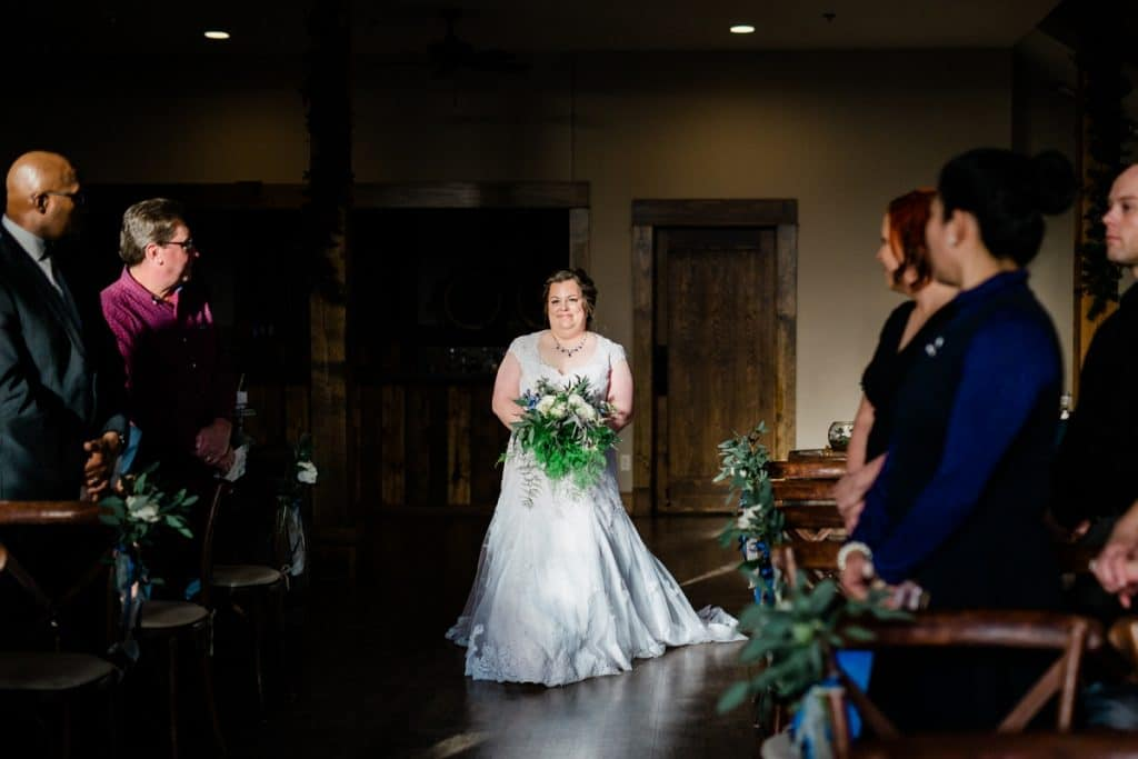 St. Louis Wedding Photographers, Silver Oaks Chateau Wedding, Bride Walking Down the Aisle