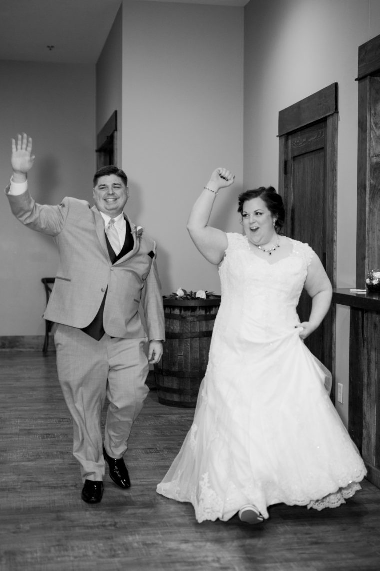 St. Louis Wedding Photographers, Silver Oaks Chateau Wedding, Bride and Groom Entrance into Reception