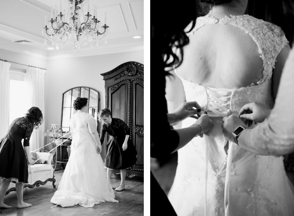 St. Louis Wedding Photographers, Silver Oaks Chateau Wedding, Bride getting into wedding dress