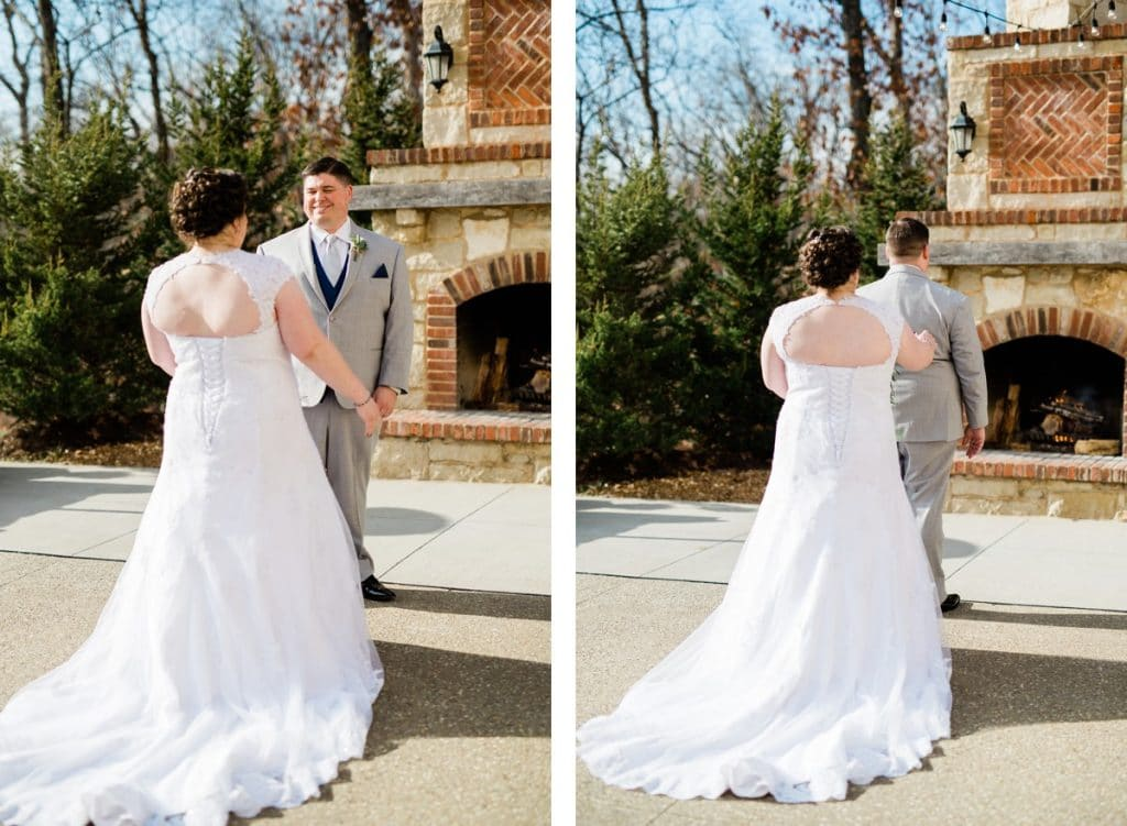 St. Louis Wedding Photographers, Silver Oaks Chateau Wedding, Bride and Groom First Look