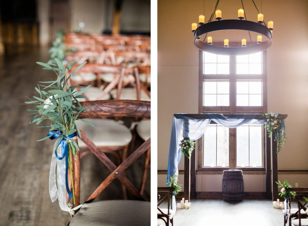 St. Louis Wedding Photographers, Silver Oaks Chateau Wedding, Ceremony Details, Chair with Flowers and Arbor Arch with Hanging Lights