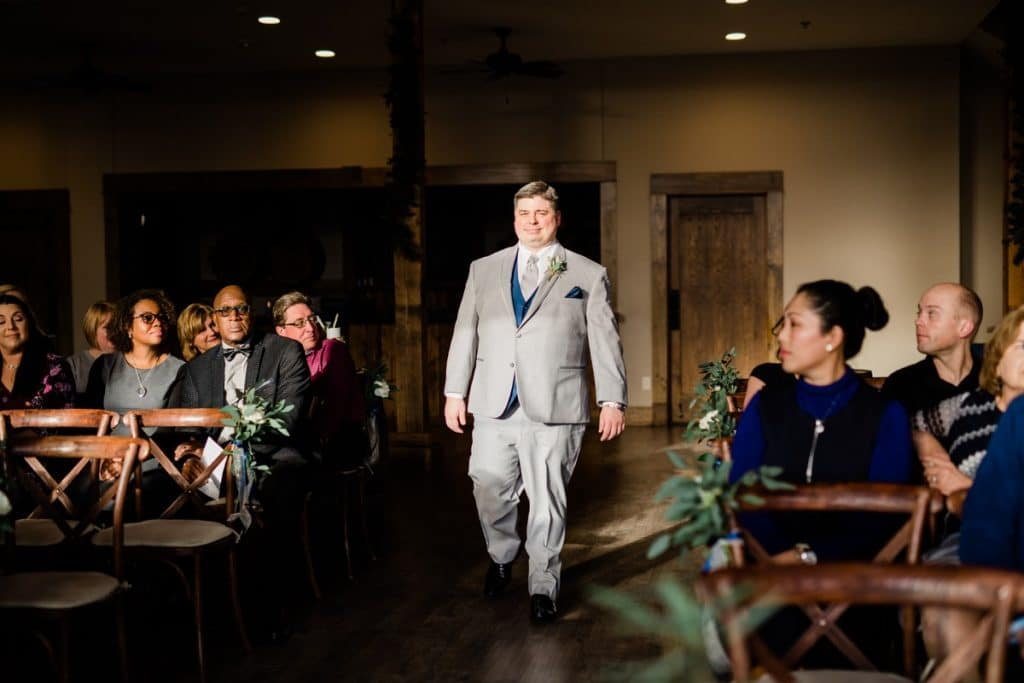 St. Louis Wedding Photographers, Silver Oaks Chateau Wedding, Groom Walking Down the Aisle