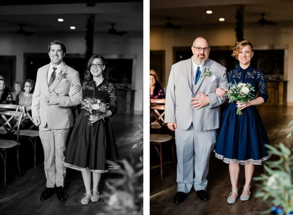 St. Louis Wedding Photographers, Silver Oaks Chateau Wedding, Bridesmaids and Groomsmen Walking Down Aisle