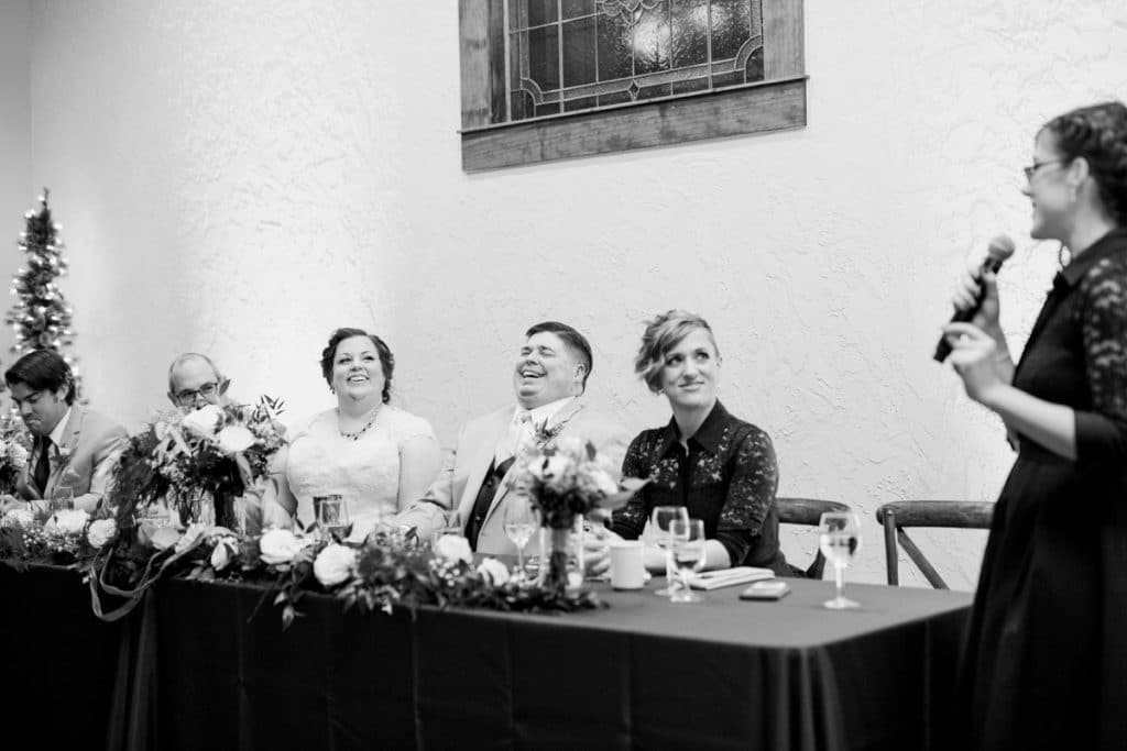 St. Louis Wedding Photographers, Silver Oaks Chateau Wedding, Bride and Groom Reaction to Toasts