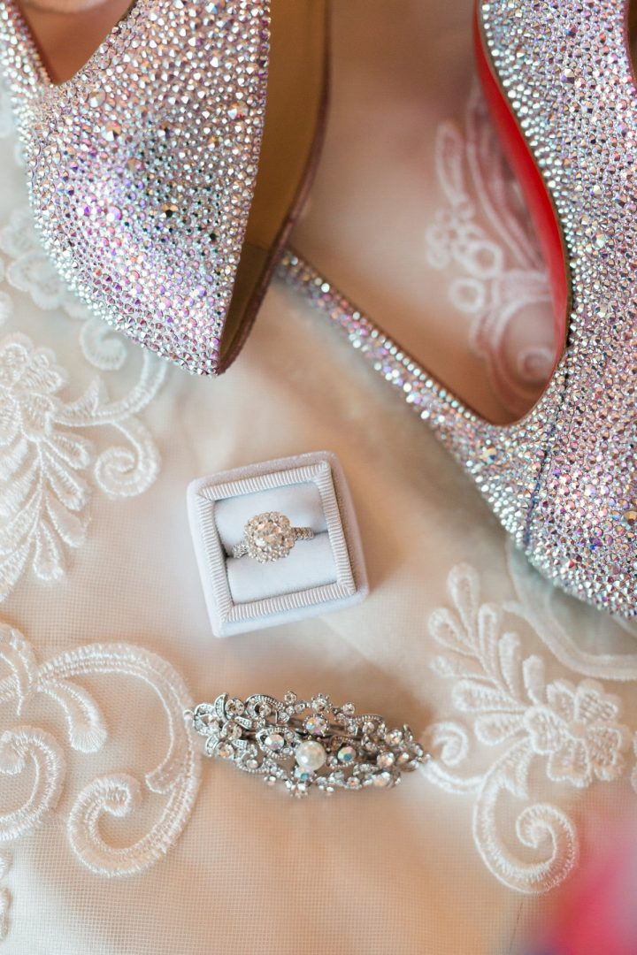 St. Louis Wedding Photographer, St. Charles Convention Center Wedding, Wedding Details, Wedding Shoes and Jewelry