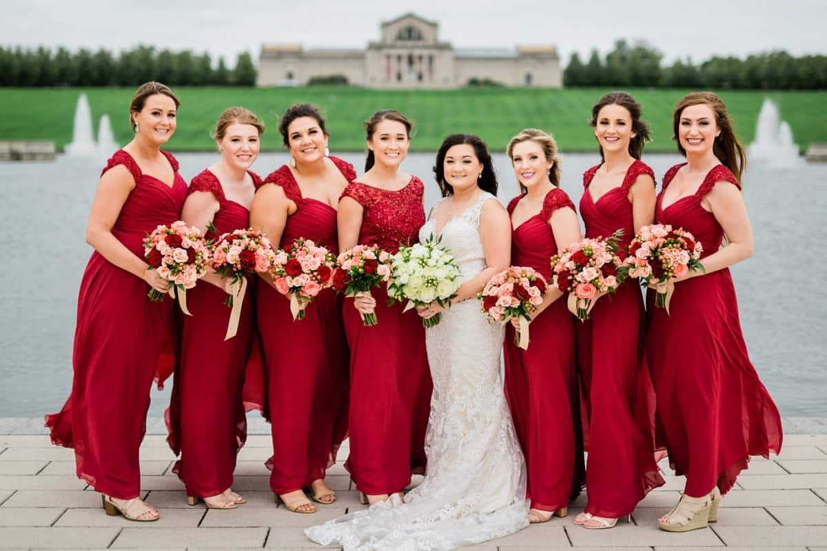 St. Louis Wedding Photographer, St. Charles Convention Center Wedding, Bride and Bridesmaids, Forest Park Portraits