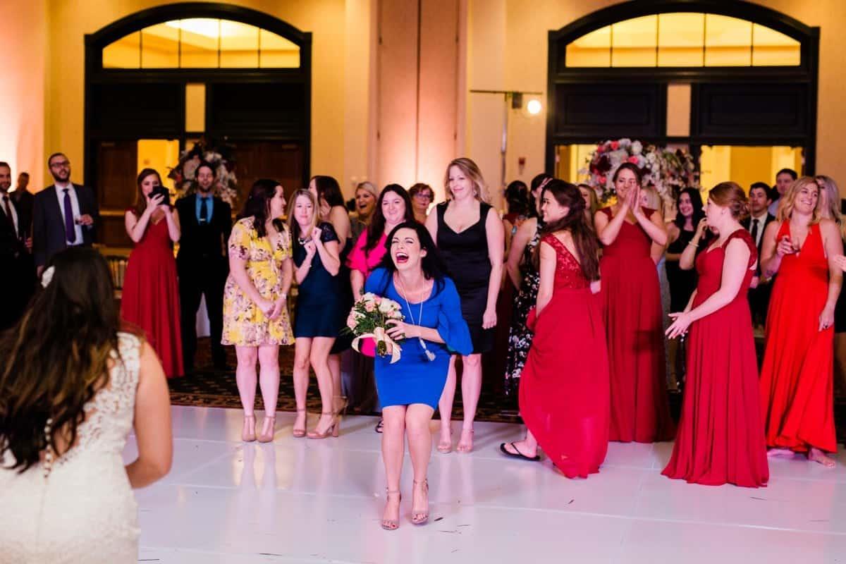 St. Louis Wedding Photographer, St. Charles Convention Center Wedding Reception, Bouquet Toss
