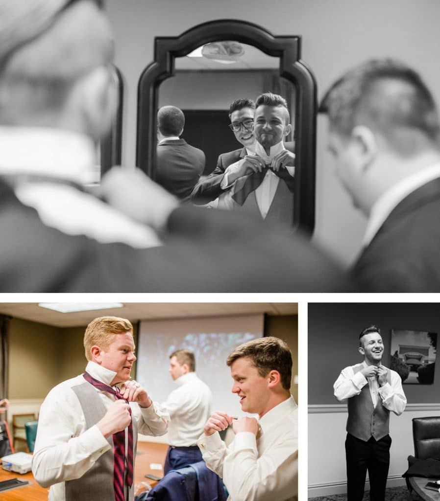 St. Louis Wedding Photographer, St. Charles Convention Center Wedding, Groom and Groomsmen Getting Ready
