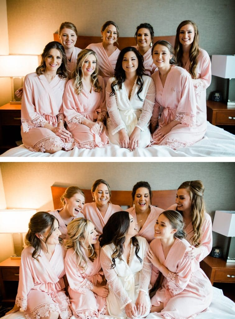 St. Louis Wedding Photographer, St. Charles Convention Center Wedding, Bride and Bridesmaids in Robes