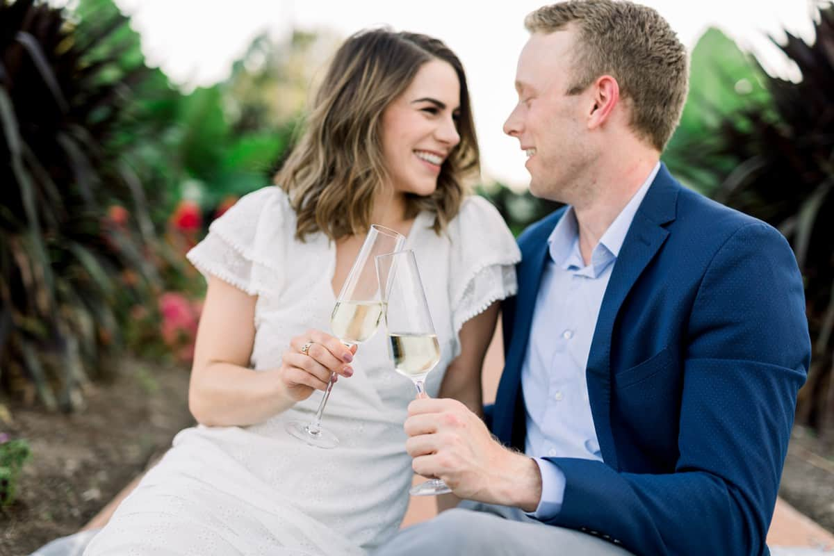 Forest Park Engagement Session, Jewel Box, Champagne Toasts