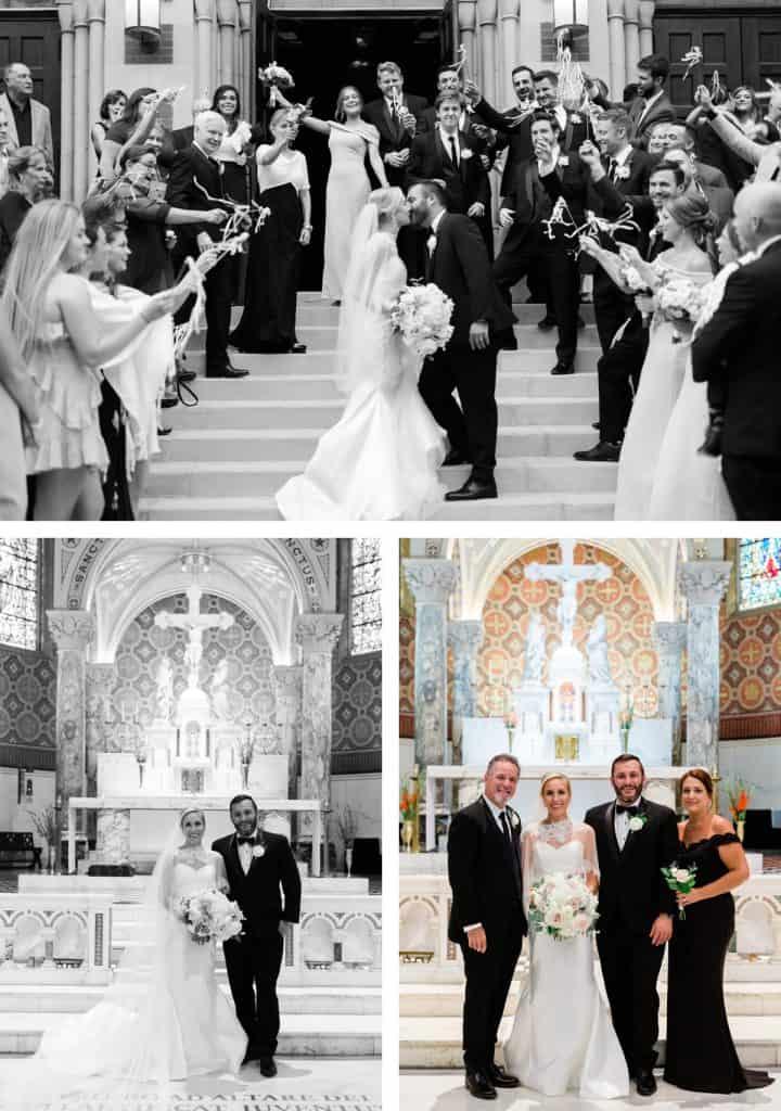 St. Cecelia Catholic Church Wedding Ceremony, St. Louis, MO, Ribbon Wedding Exit
