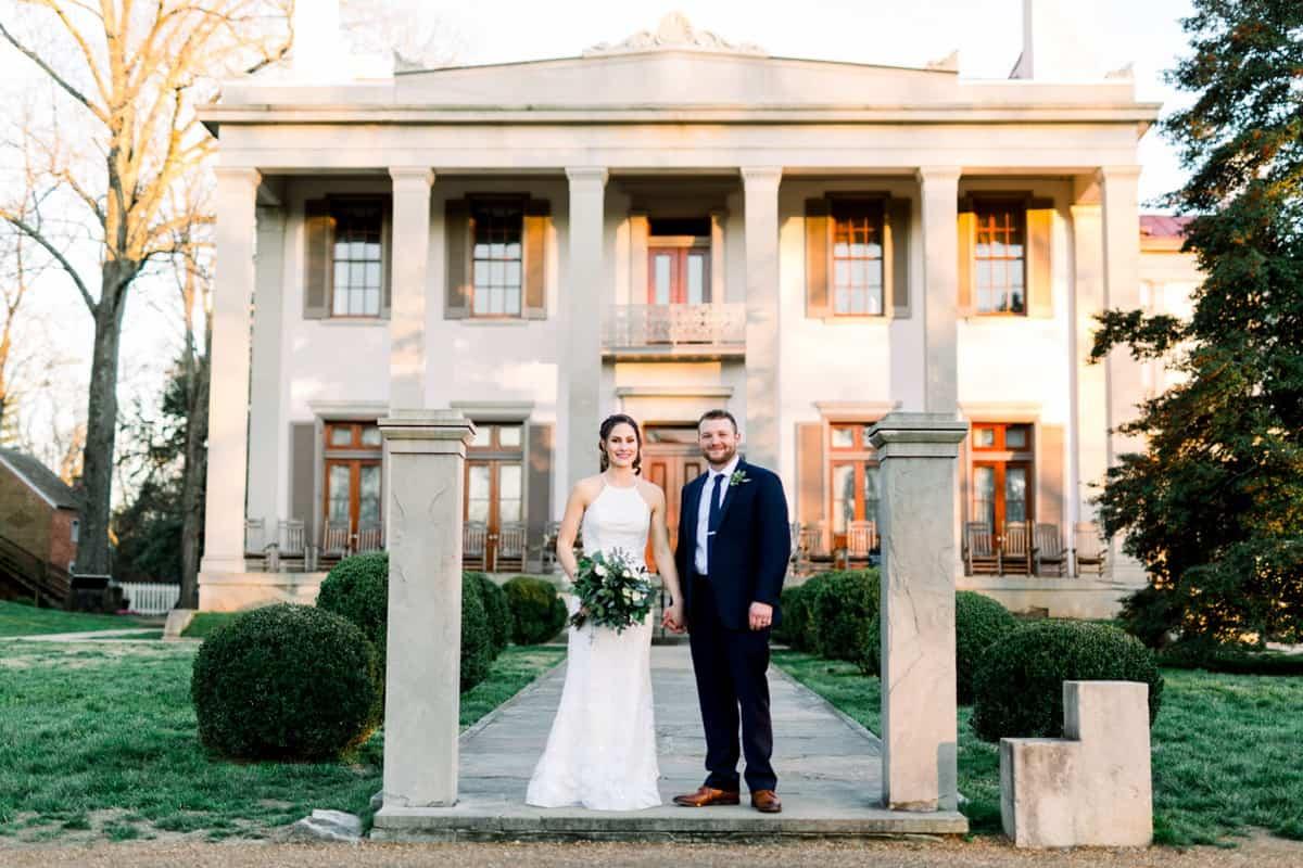 Harding House at Belle Meade Plantation Wedding, Bride and Groom Portraits