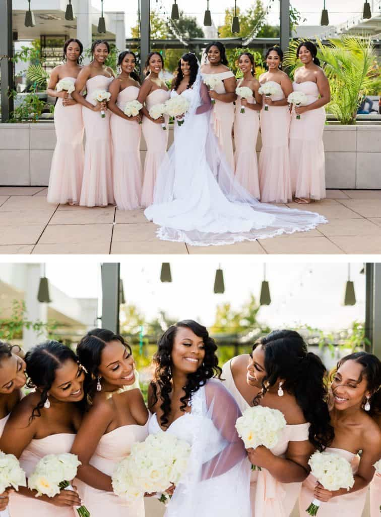 Downtown St. Louis Four Seasons Hotel Wedding, Bride and Bridesmaids Wedding Party Photos