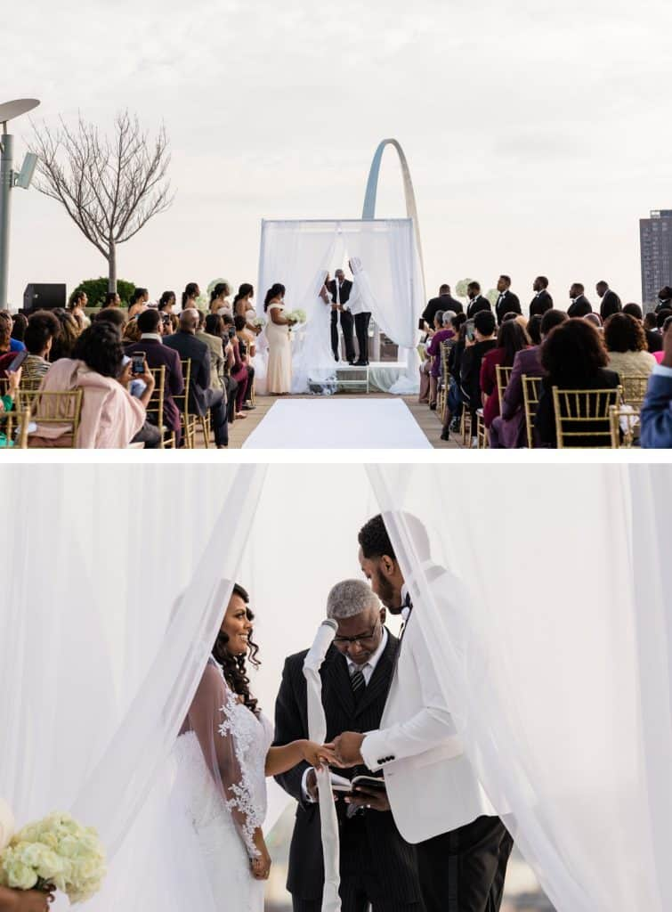 Downtown St. Louis Four Seasons Hotel Wedding, Wedding Ceremony Outdoor Arch