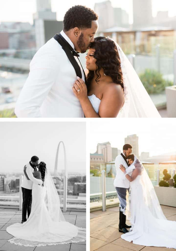 Downtown St. Louis Four Seasons Hotel Wedding, Bride and Groom Photos Portraits